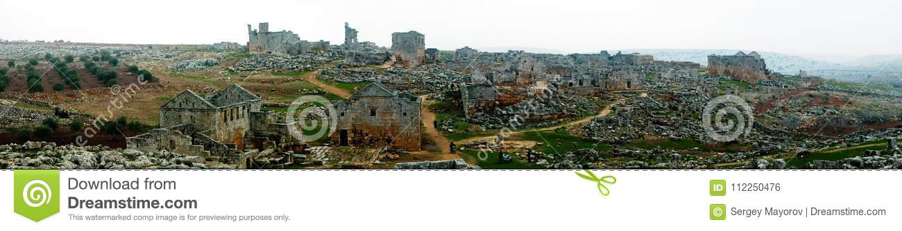 Panorama of ruined abandoned dead city Serjilla in Syria
