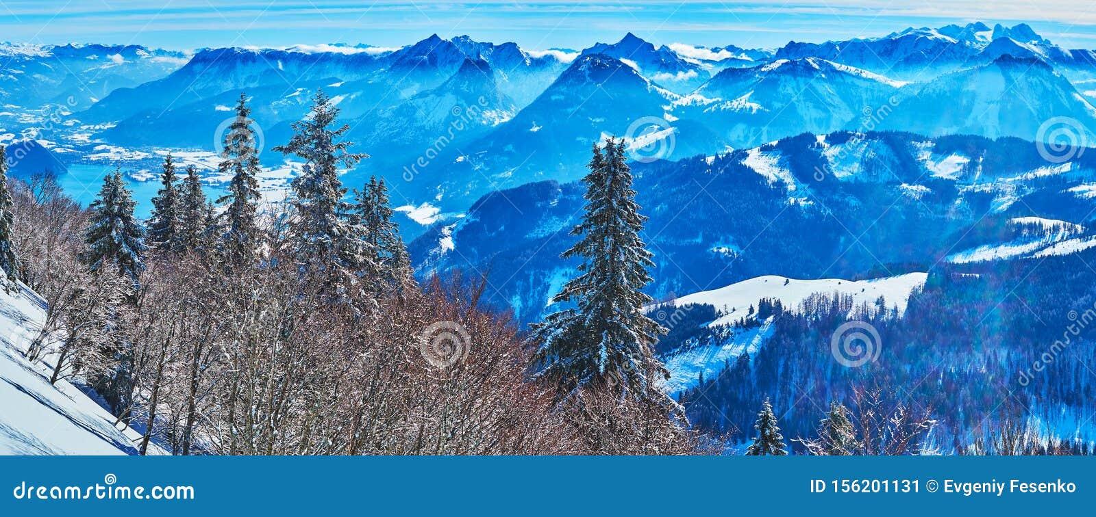 Panorama of Salzkammergut Alps from Zwolferhorn, St Gilgen, Austria