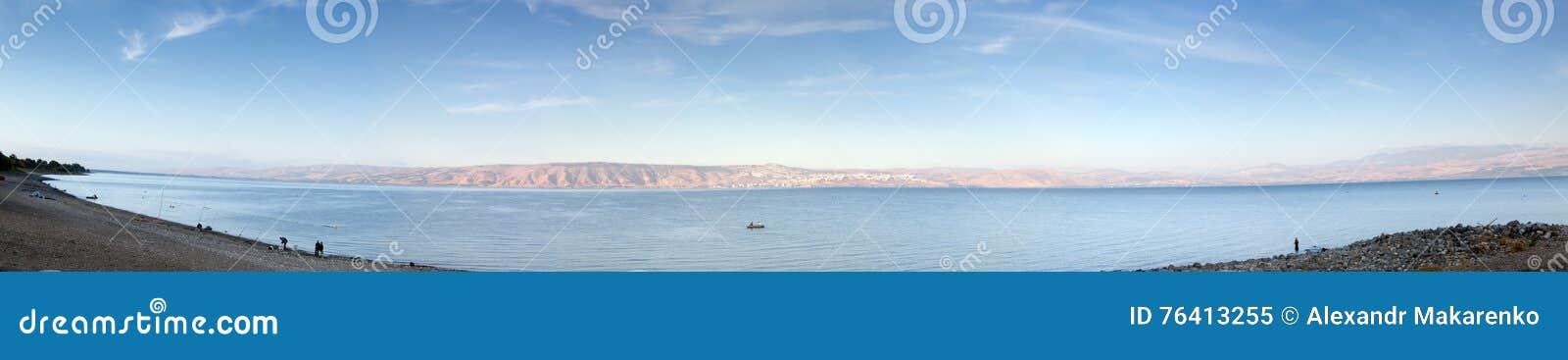Panorama Sea of Galilee in the early morning.