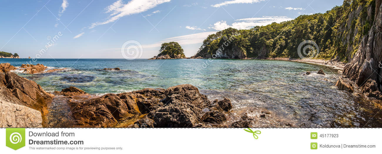 Panorama of the sea landscape bay telyakovsky island for Landscaping rocks east bay