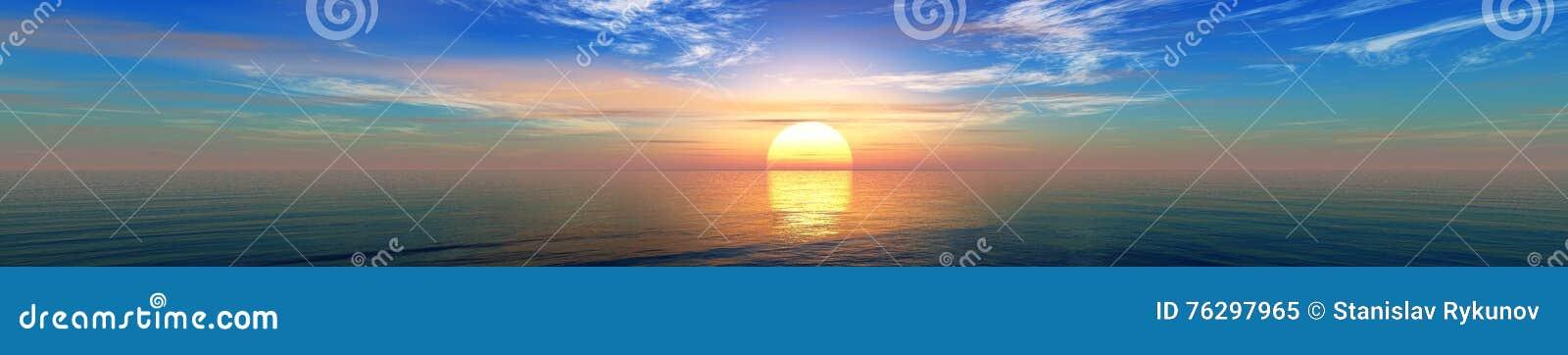 Panorama of sea sunset, sunrise.