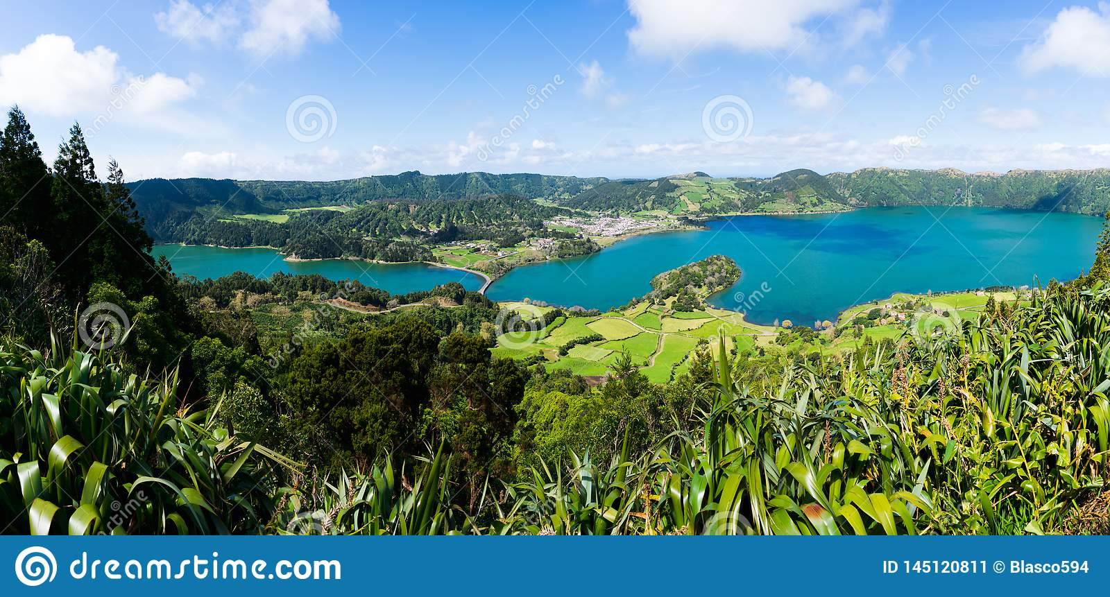Panorama of Sete Cidades from the hill
