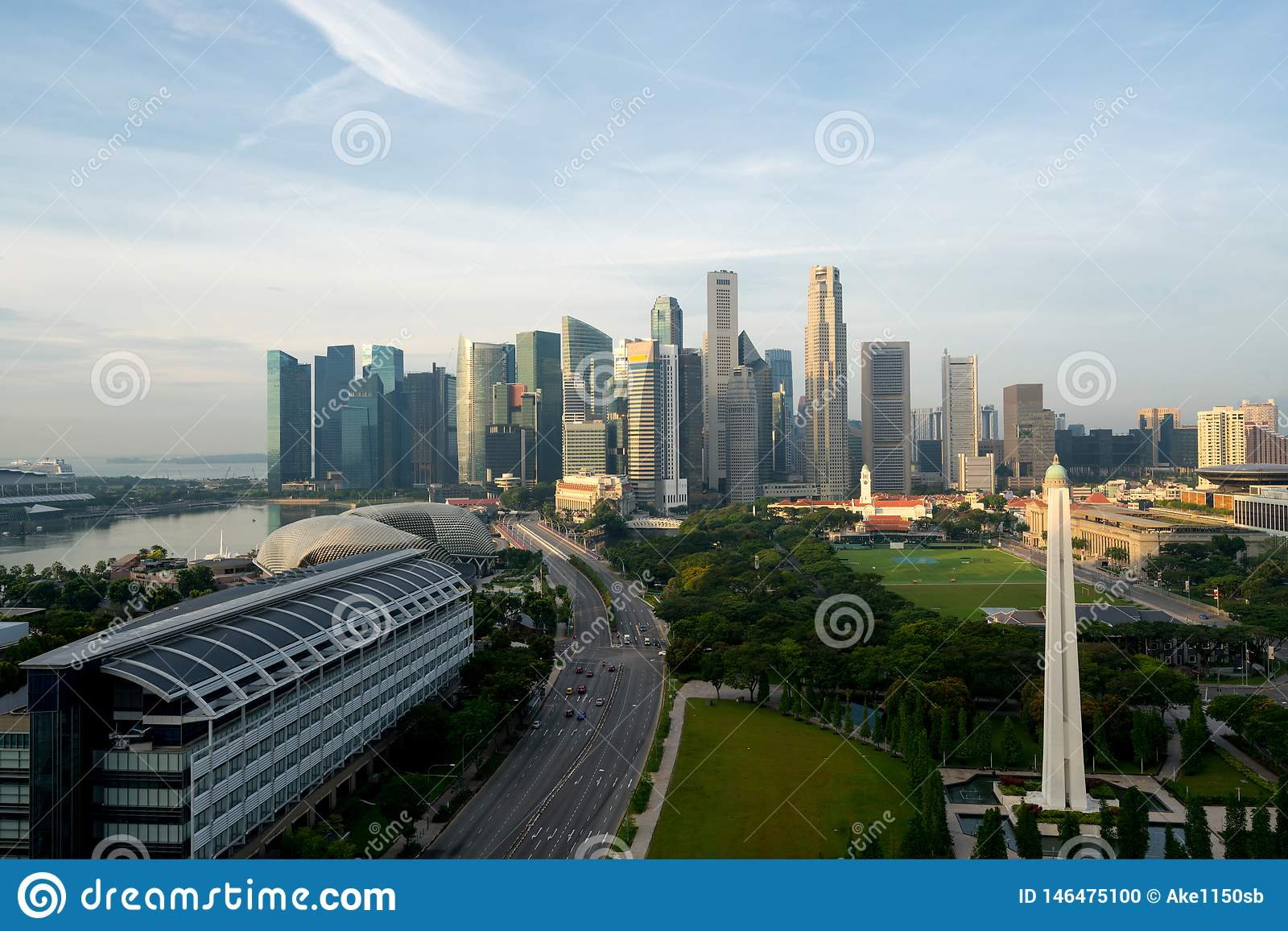 Panorama of Singapore business district skyline and Singapore skyscraper with War Memorial Park in morning at Marina Bay,