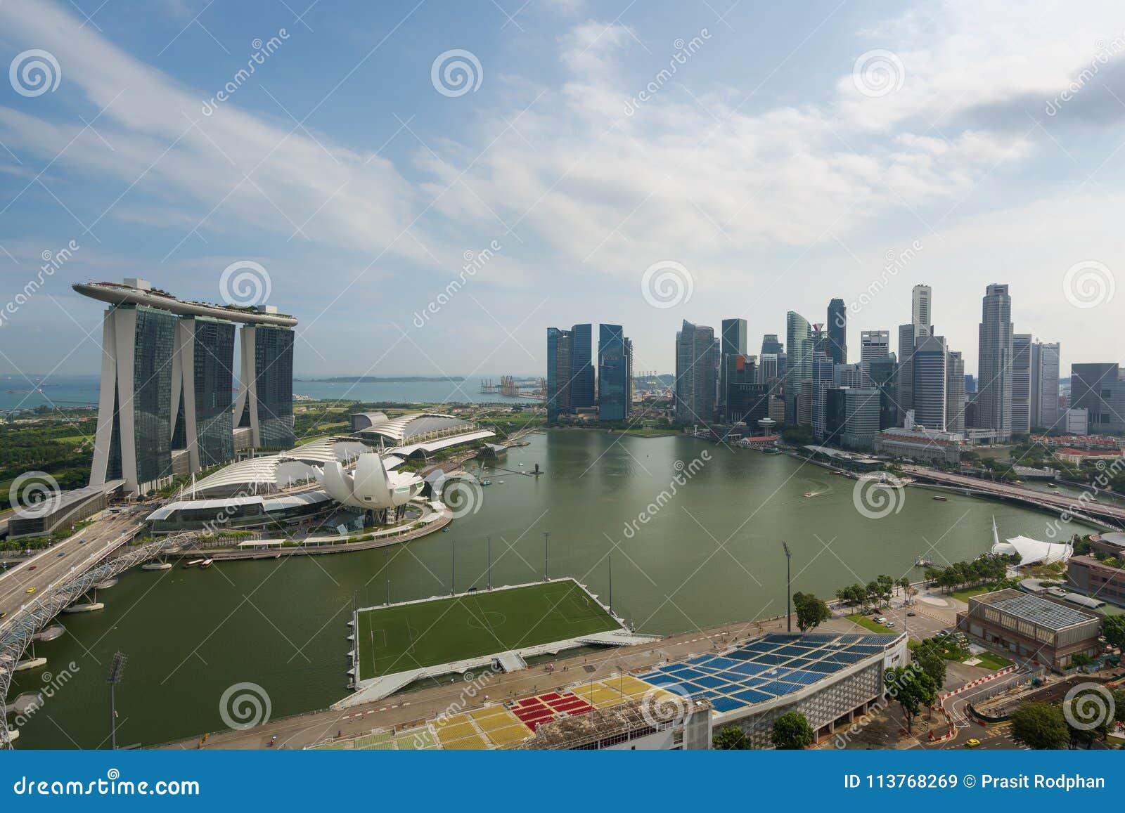 Panorama Singapur dzielnicy biznesu linia horyzontu sk i Singapur