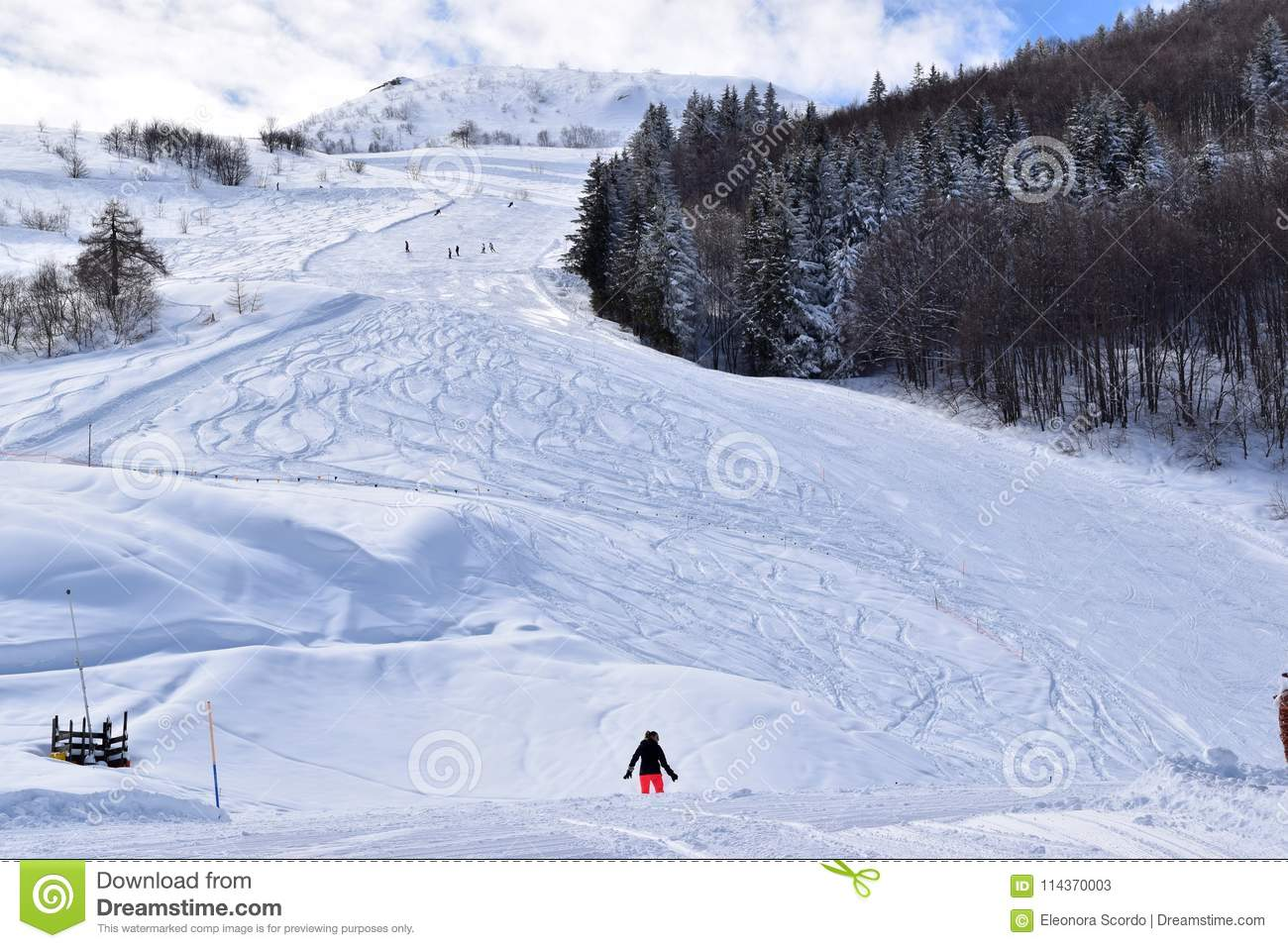 ski slopes and skiers editorial stock photo. image of slopes - 114370003