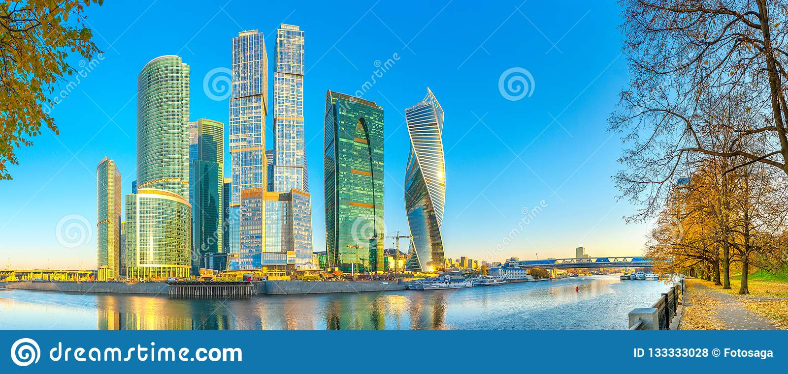 Panorama of the skyscrapers of the business center of Moscow from the embankment of the Moskva River