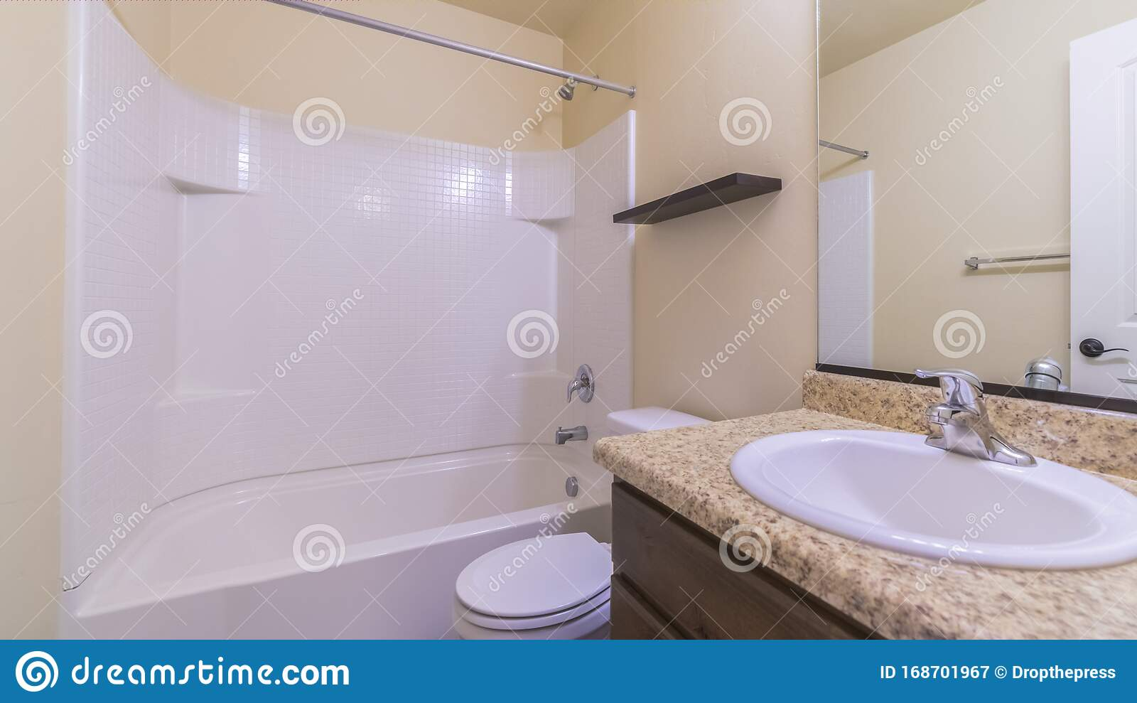 Panorama Small Modern Bathroom Interior With Marble Vanity Stock Image Image Of Restroom Mirror 168701967