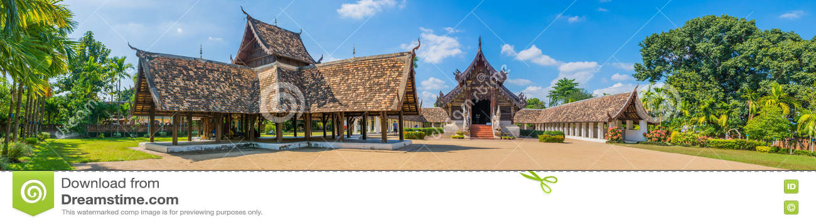Panorama sparato di Wat Ton Kain, in Chiang Mai Thailand