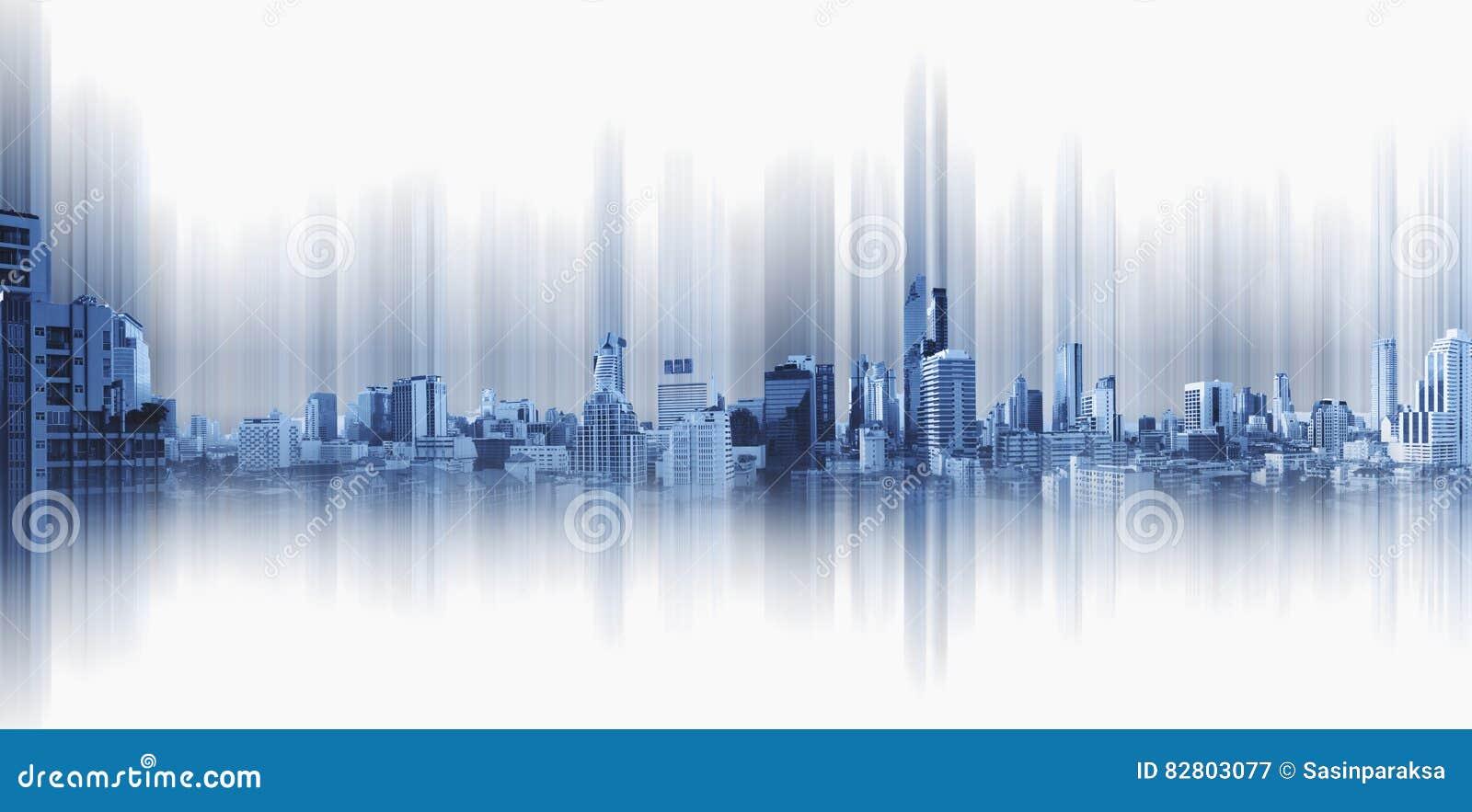 Panorama- stad på svart bakgrund, teknologistadsanslutning