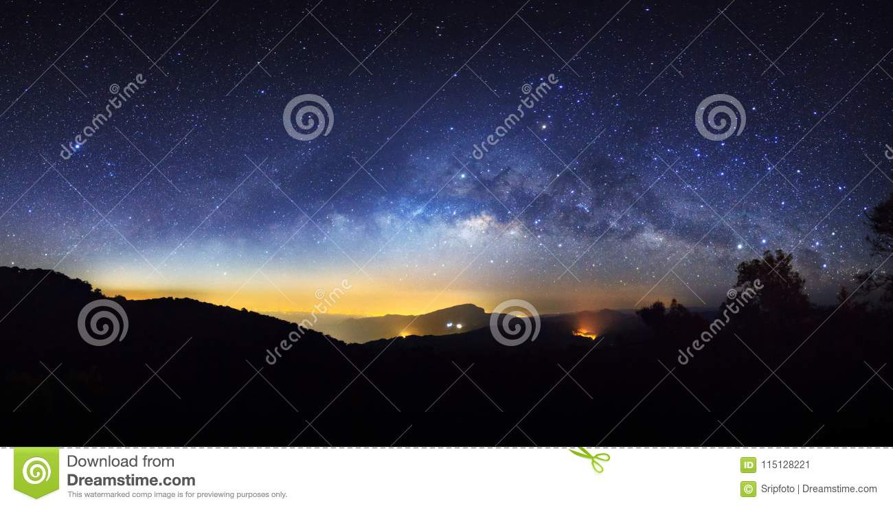 Panorama starry night sky and milky way galaxy with stars and sp