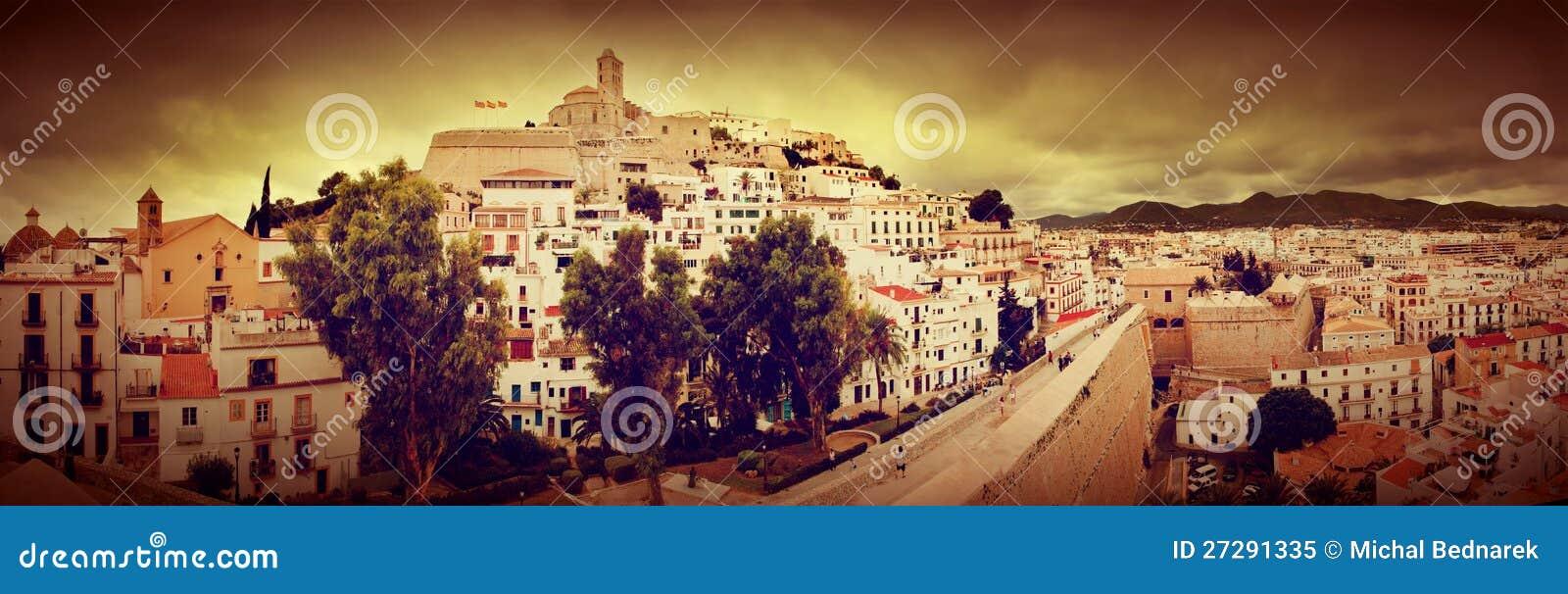 Panorama stary miasto Ibiza, Hiszpania