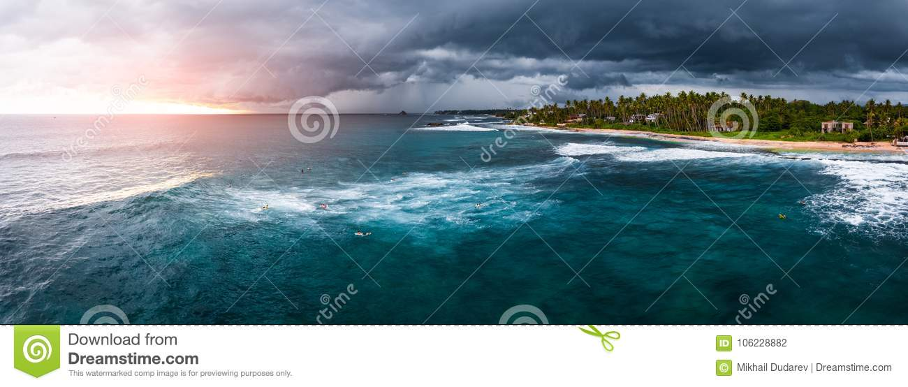 Panorama Of The Surf Spot Named Coconut Stock Photo - Image
