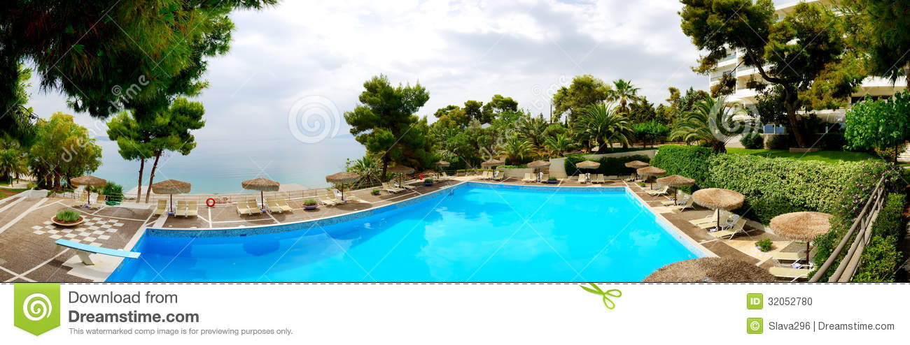 Panorama Of Swimming Pool Near Beach At The Luxury Hotel Stock Photo Image 32052780