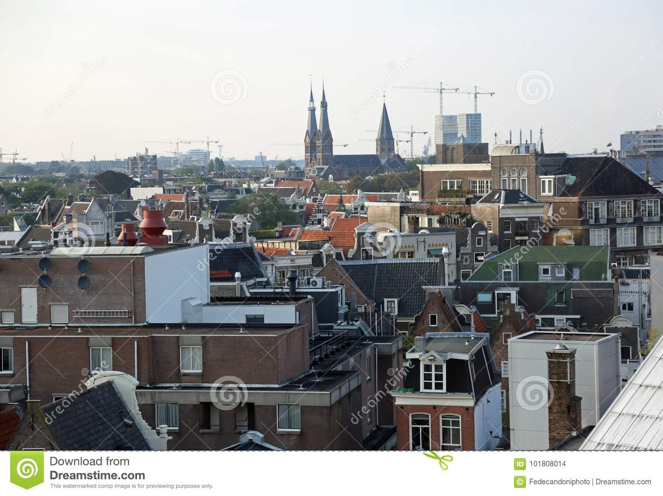Panorama of the city of Amsterdam in the Netherlands