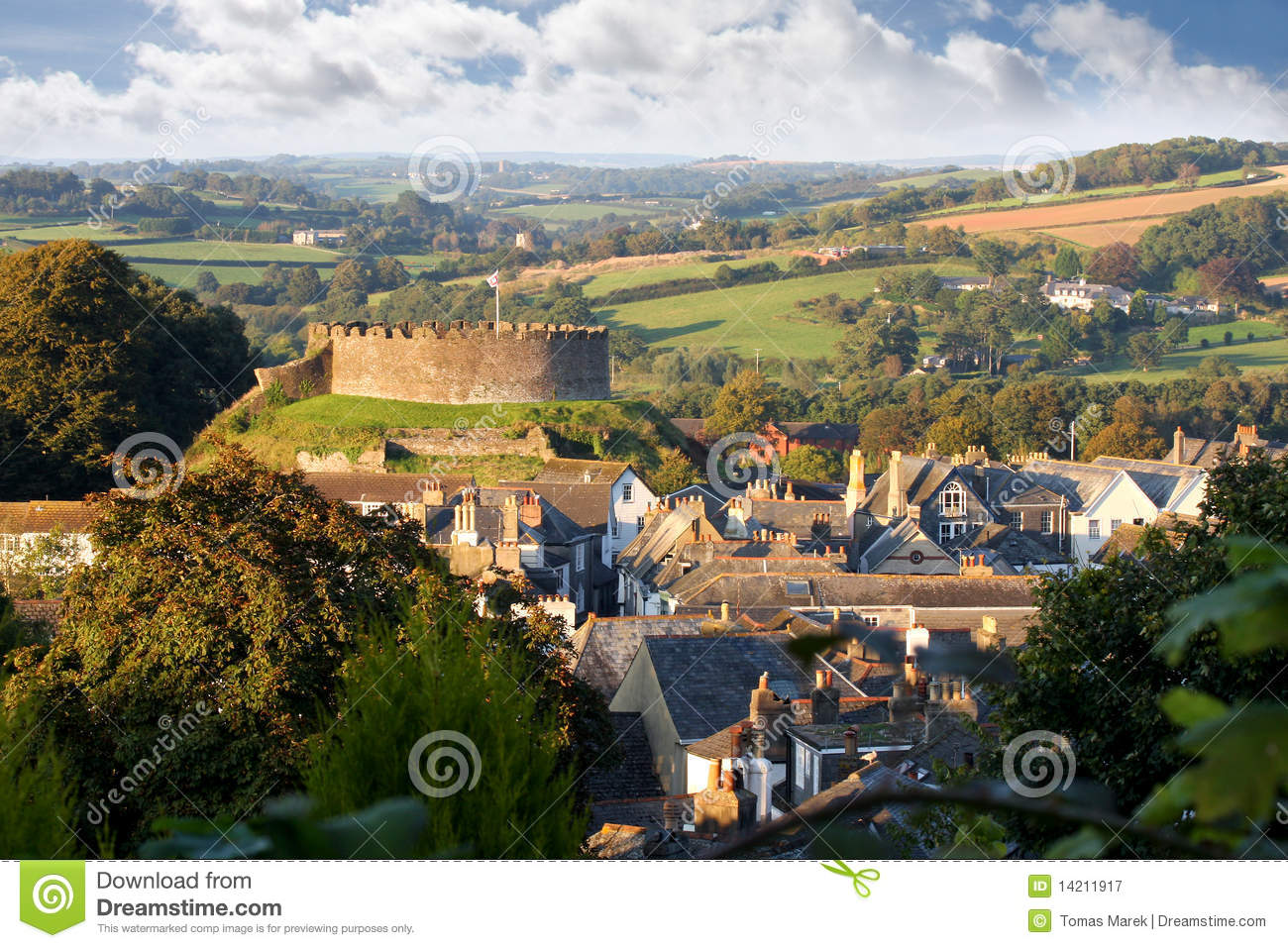 Panorama of Totnes with castle, Devon, England