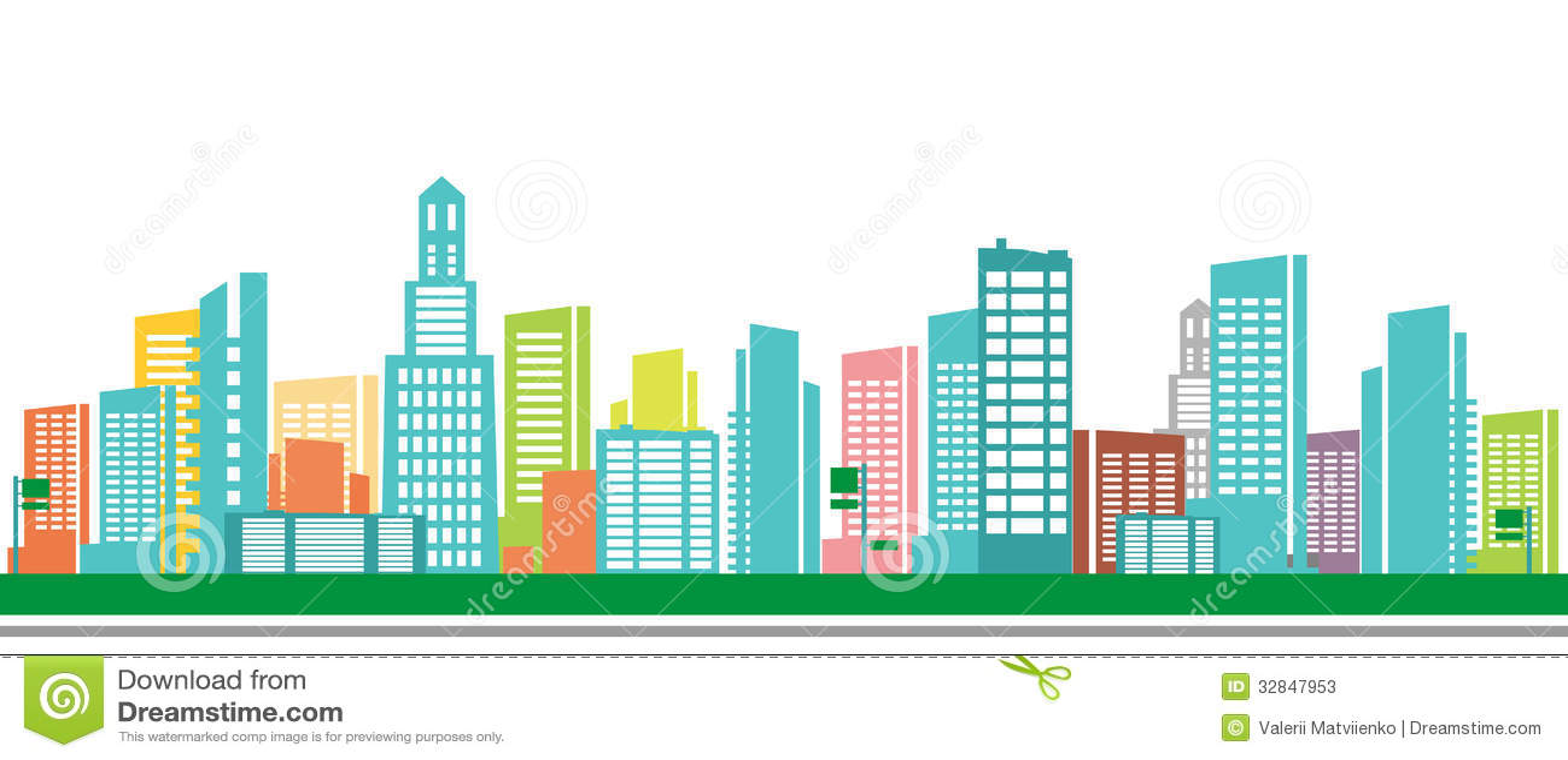 Town Landscape Vector Illustration: Sketch Illustration Stock Vector