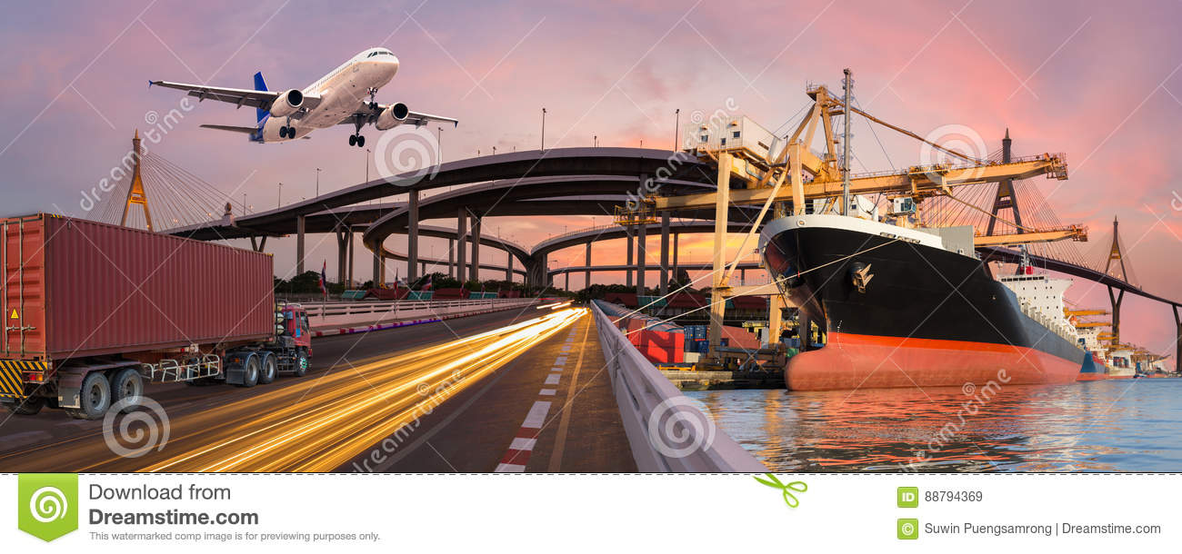 Panorama transport and logistic concept by truck boat plane
