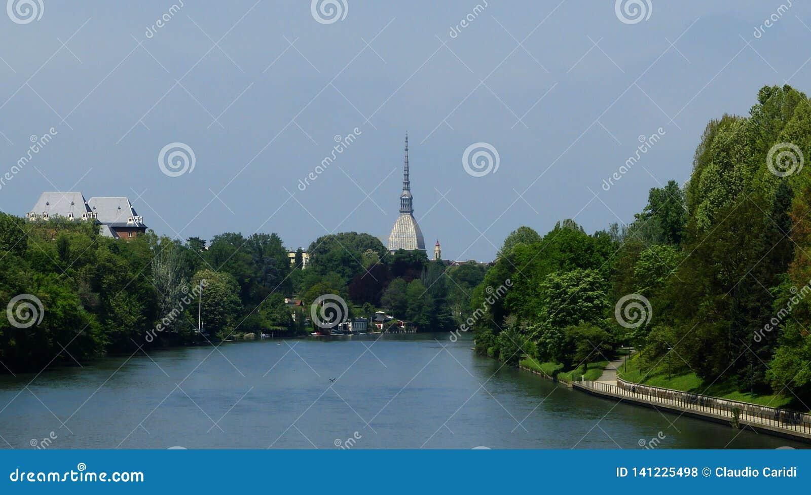 Panorama of Turin Torino with the Mole Antonelliana and river Po, Italy