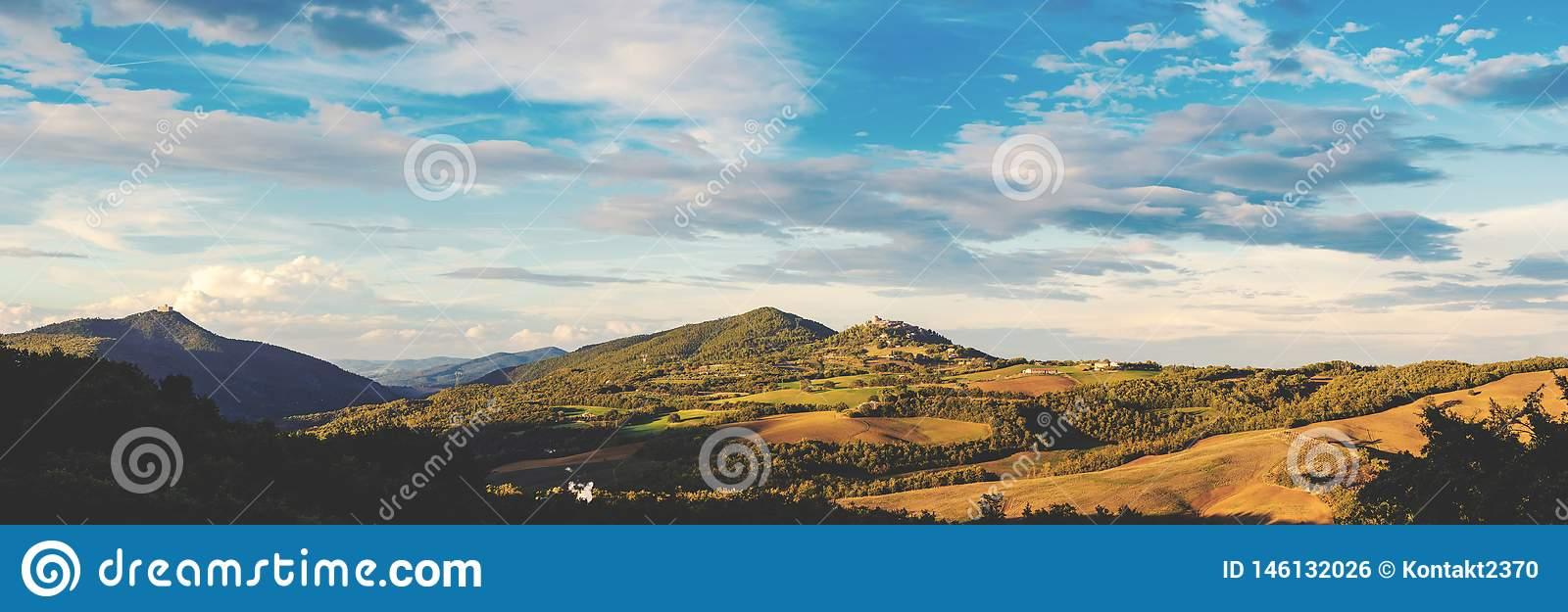 Panorama of tuscany in warm evening light