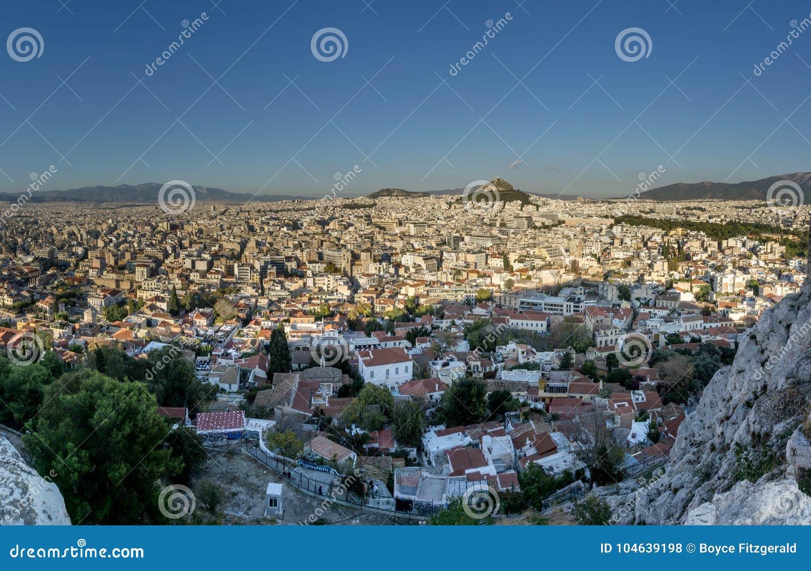 Download Panorama Van Athene, Griekenland Van De Akropolis Stock Foto - Afbeelding bestaande uit kapitaal, romein: 104639198