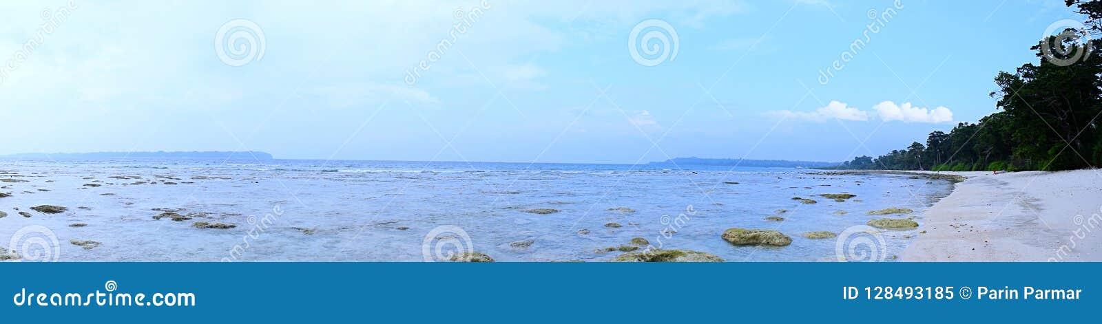 Panorama van Azure Sea Water, Rotsachtige en Sandy Pristine Beach, Kustvegetatie, en Duidelijke Blauwe Hemel - Zeegezicht