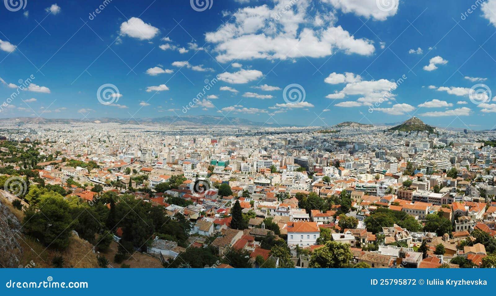 Panorama van de megalopolis van Athene, Griekenland