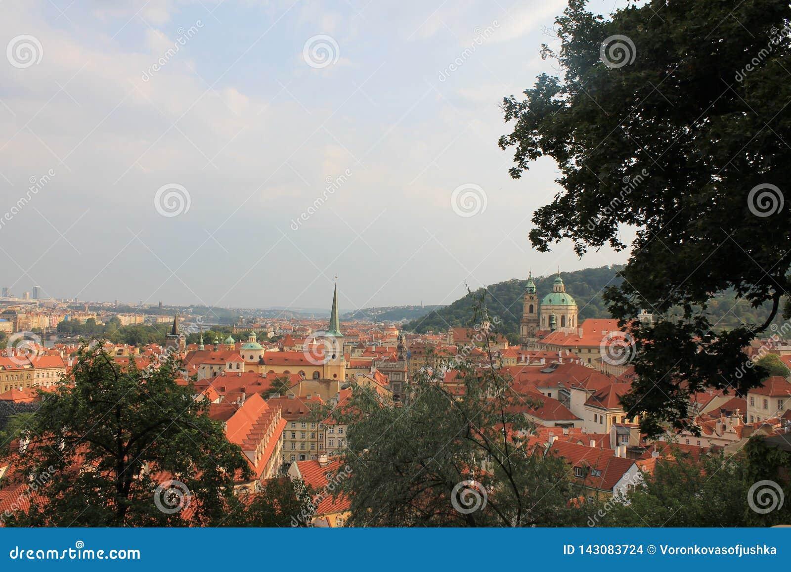 Panorama van de oude stad van Praag, Tsjechische Republiek