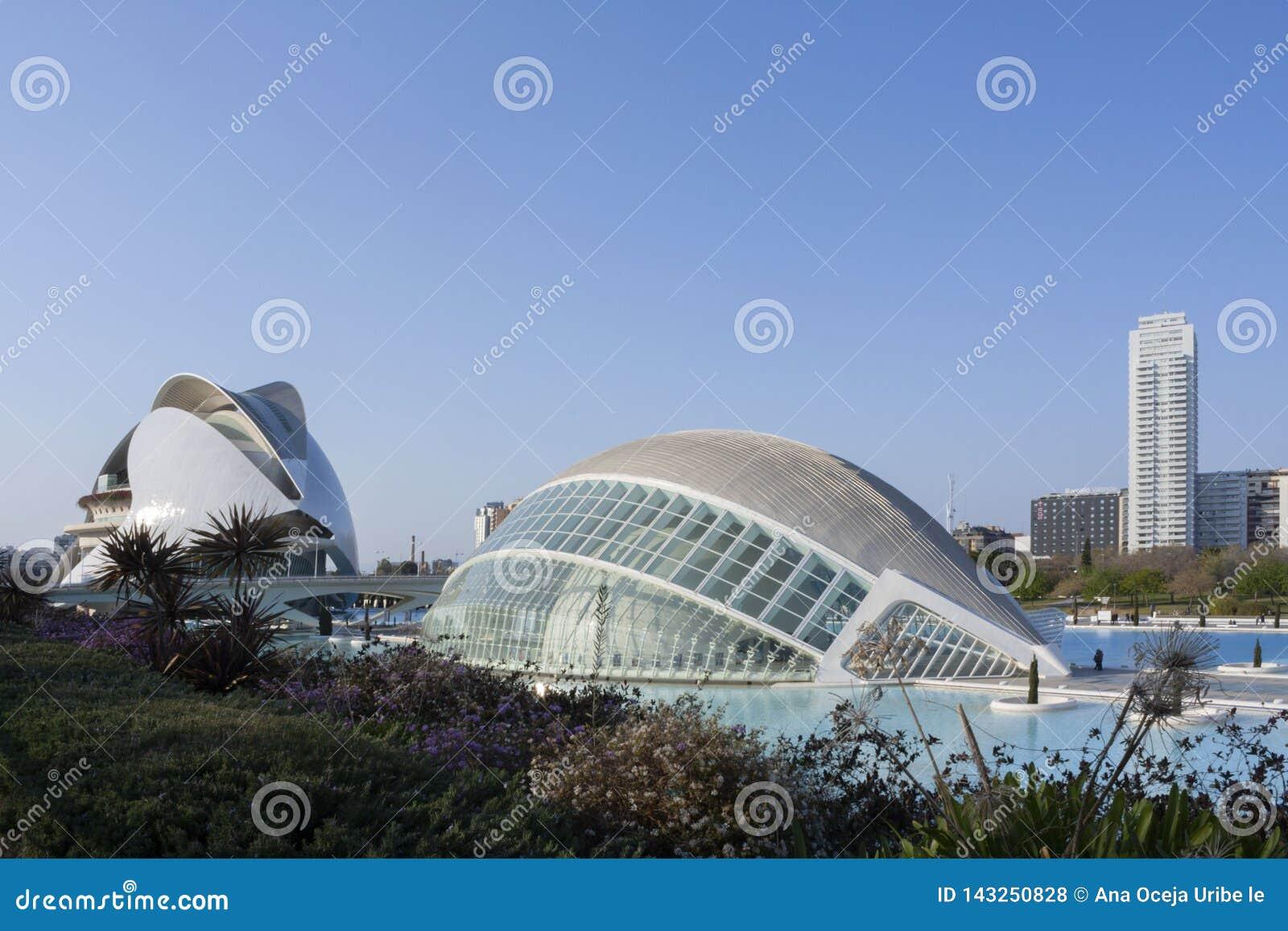 Panorama van de stad van kunsten en wetenschappen in Valencia