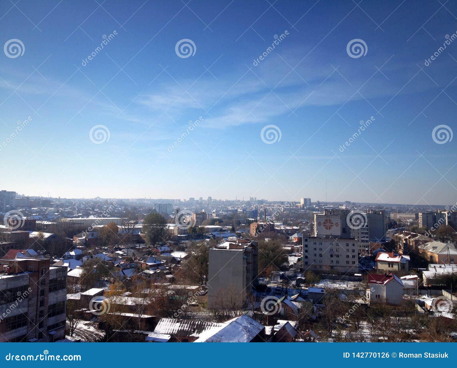 Panorama van de stad Stad tegen de hemel