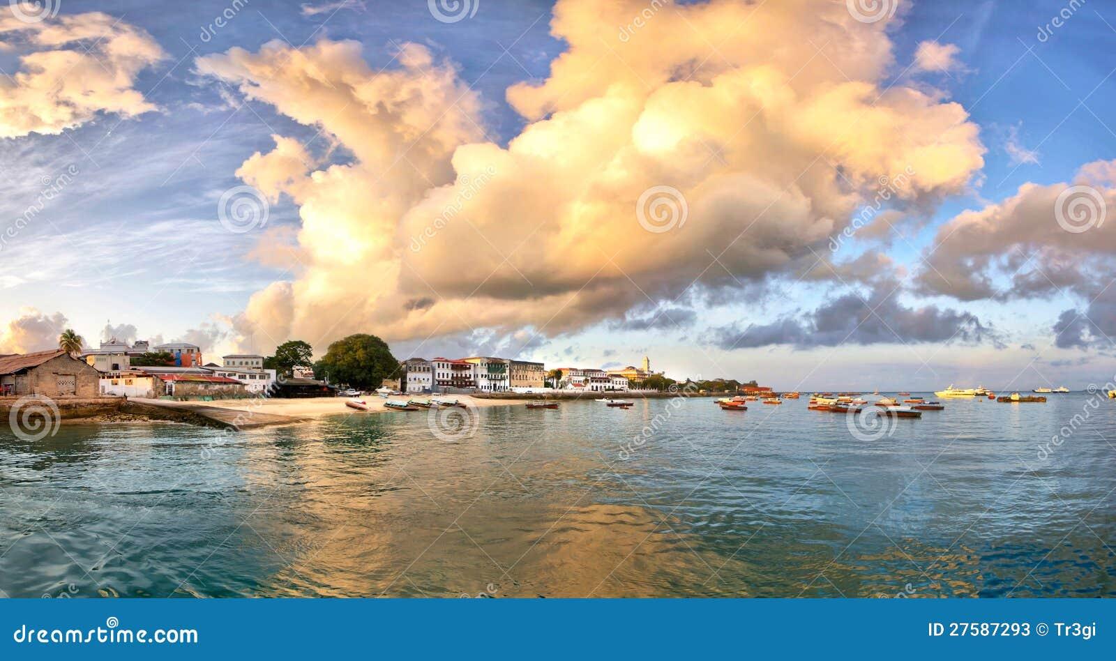Panorama van de Stad van de Steen op het eiland van Zanzibar