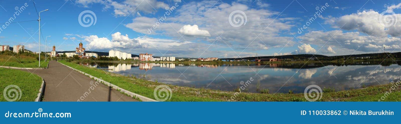 Panorama van de stad van Zelenogorsk, Krasnoyarsk-gebied