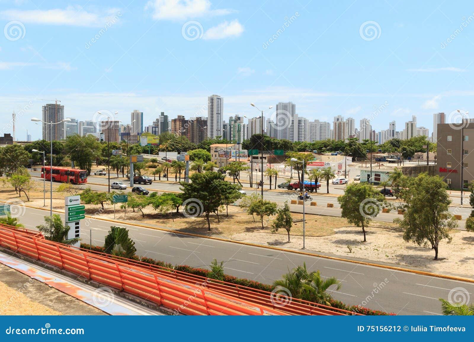 Panorama van gebouwen, hotels in Recife, Brazilië