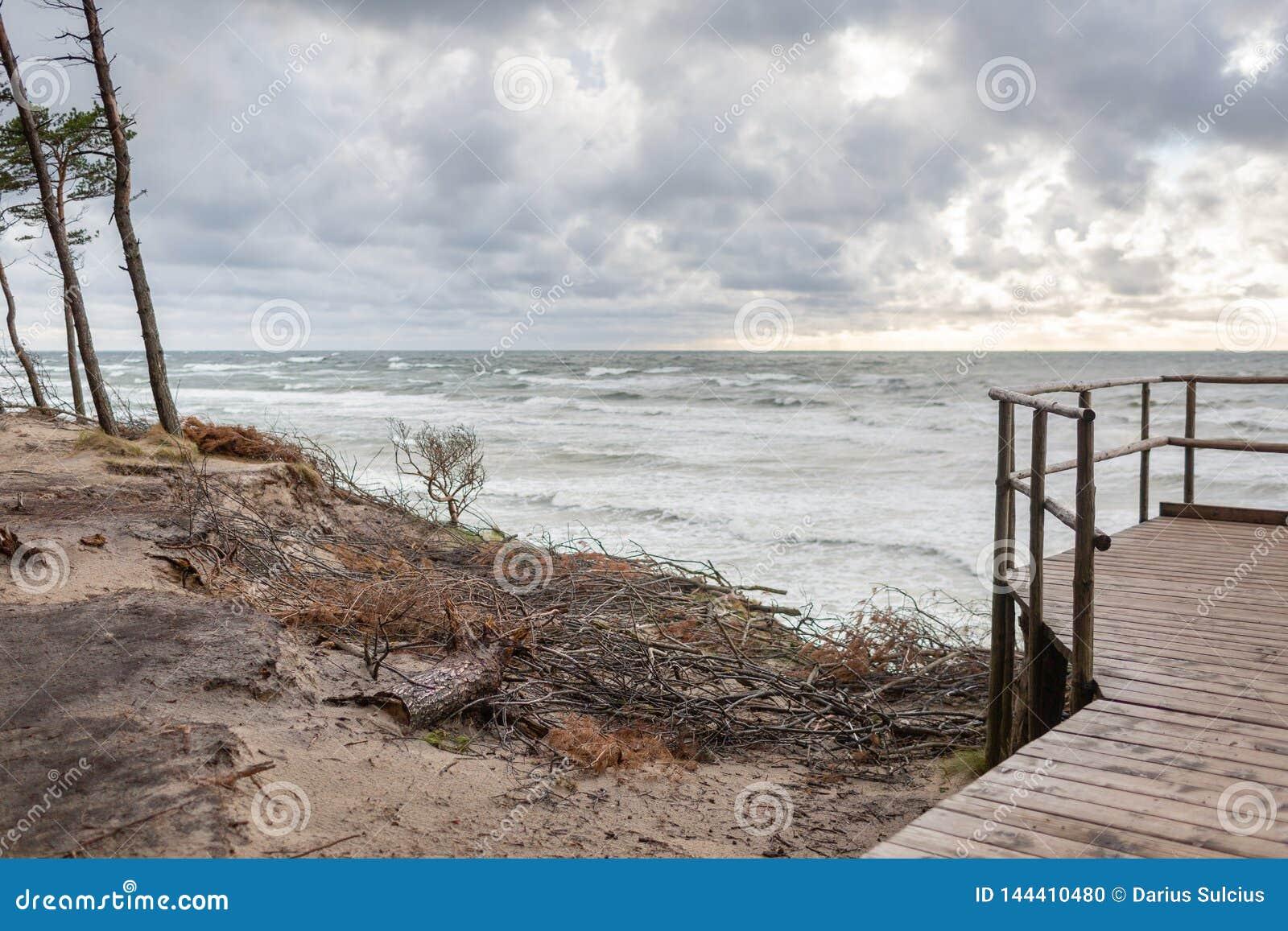 Panorama van GLB van beroemde toeristische attractienederlander in de kust regionaal park van Litouwen dichtbij Karkle, Litouwen