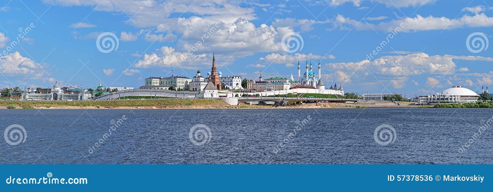 Panorama van Kazan het Kremlin, Republiek Tatarstan, Rusland