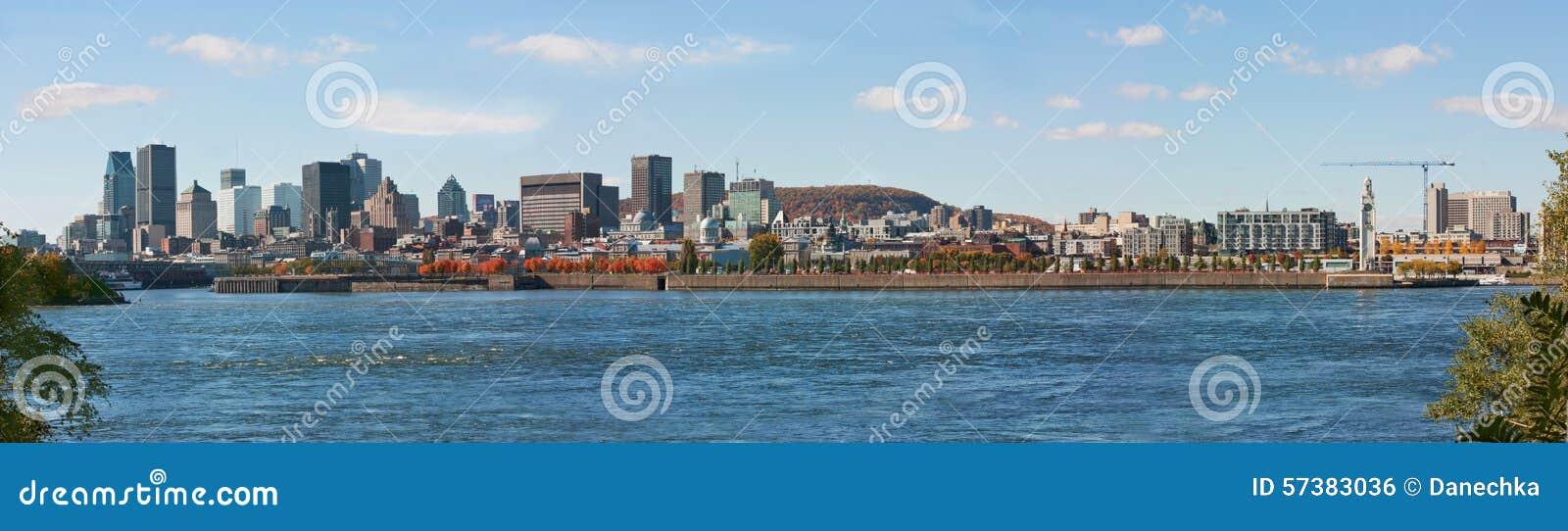 Panorama van Montreal van de binnenstad van het eiland St Helen