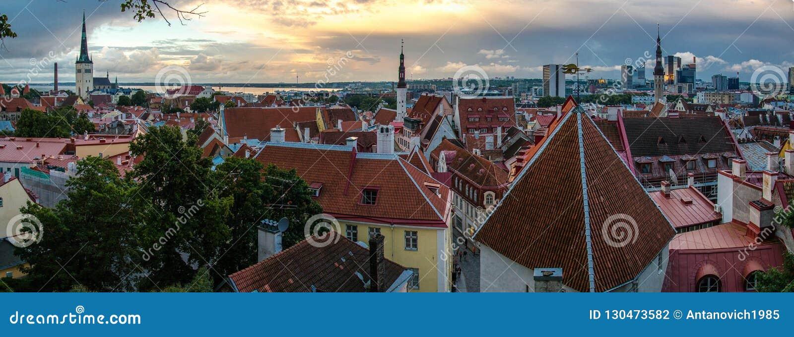 Panorama van Oude Stad Tallinn met torens en muren, Estoni