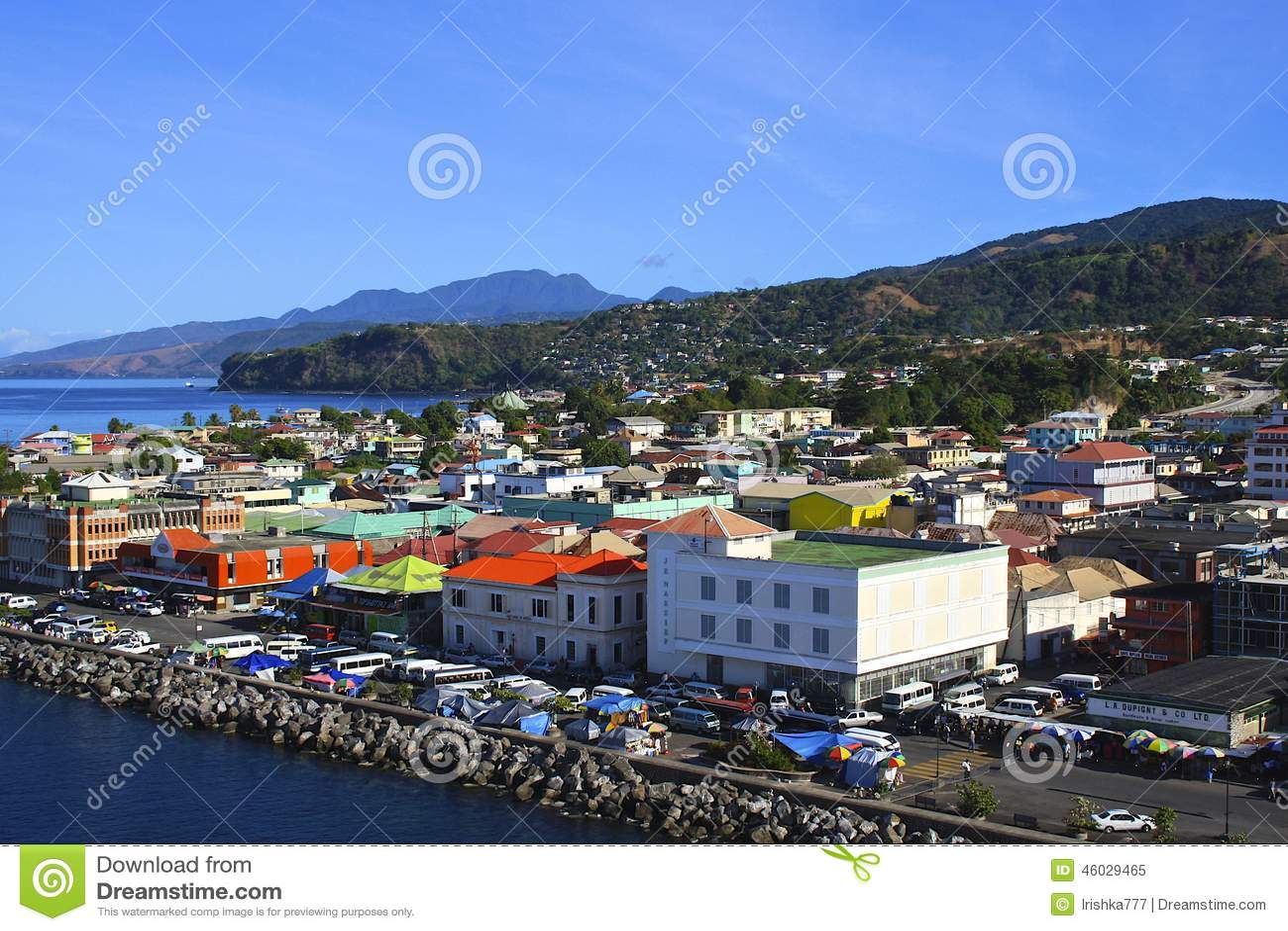 Panorama van Roseau, Caraïbisch Dominica,