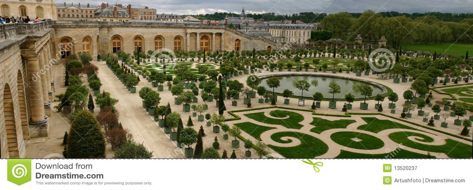 Panorama Van Versailles Oranje Tuin Stock Afbeelding Afbeelding
