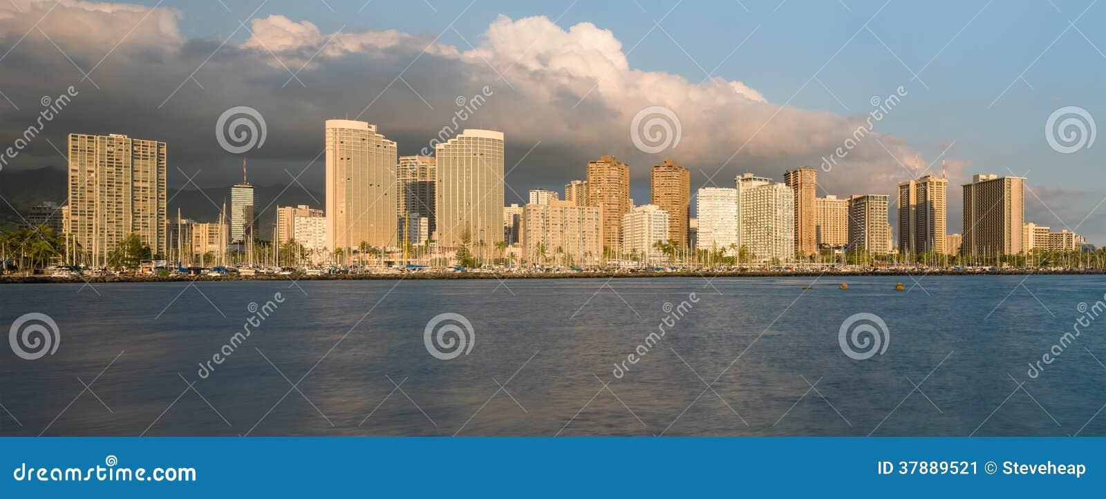 Panorama van Waikiki Honolulu Hawaï