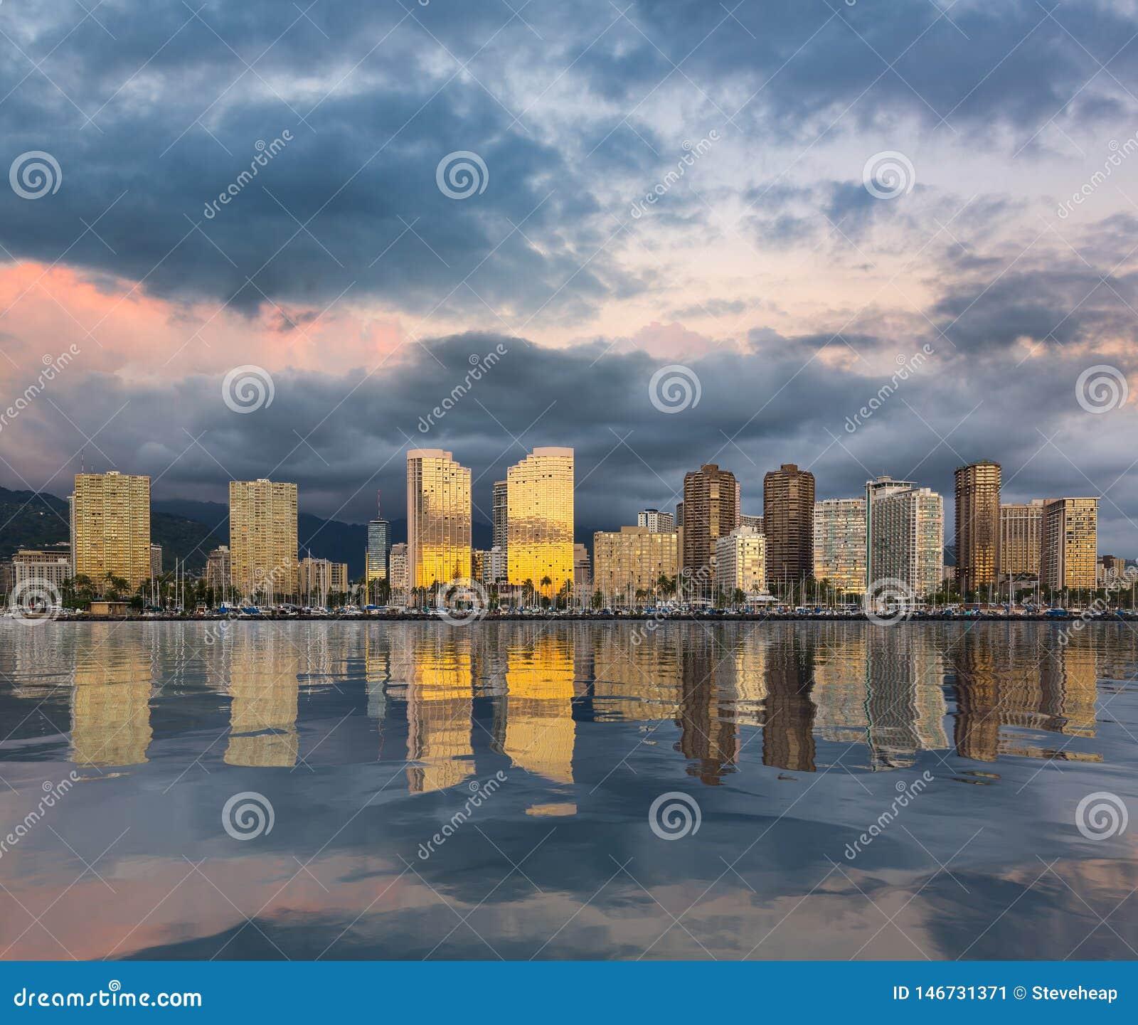 Panorama van Waikiki Honolulu Hawa?