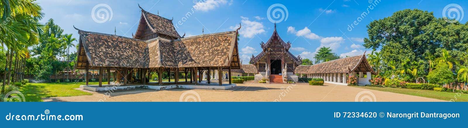 Panorama van Wat Ton Kain, in Chiang Mai Thailand wordt geschoten dat