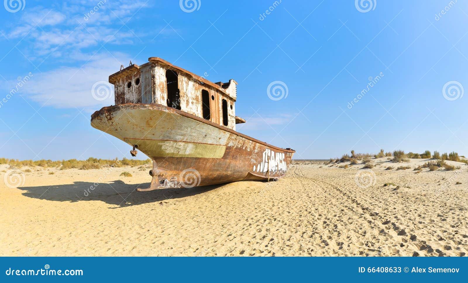 Panorama Vecchia nave nel deserto di Aral, retrovisione