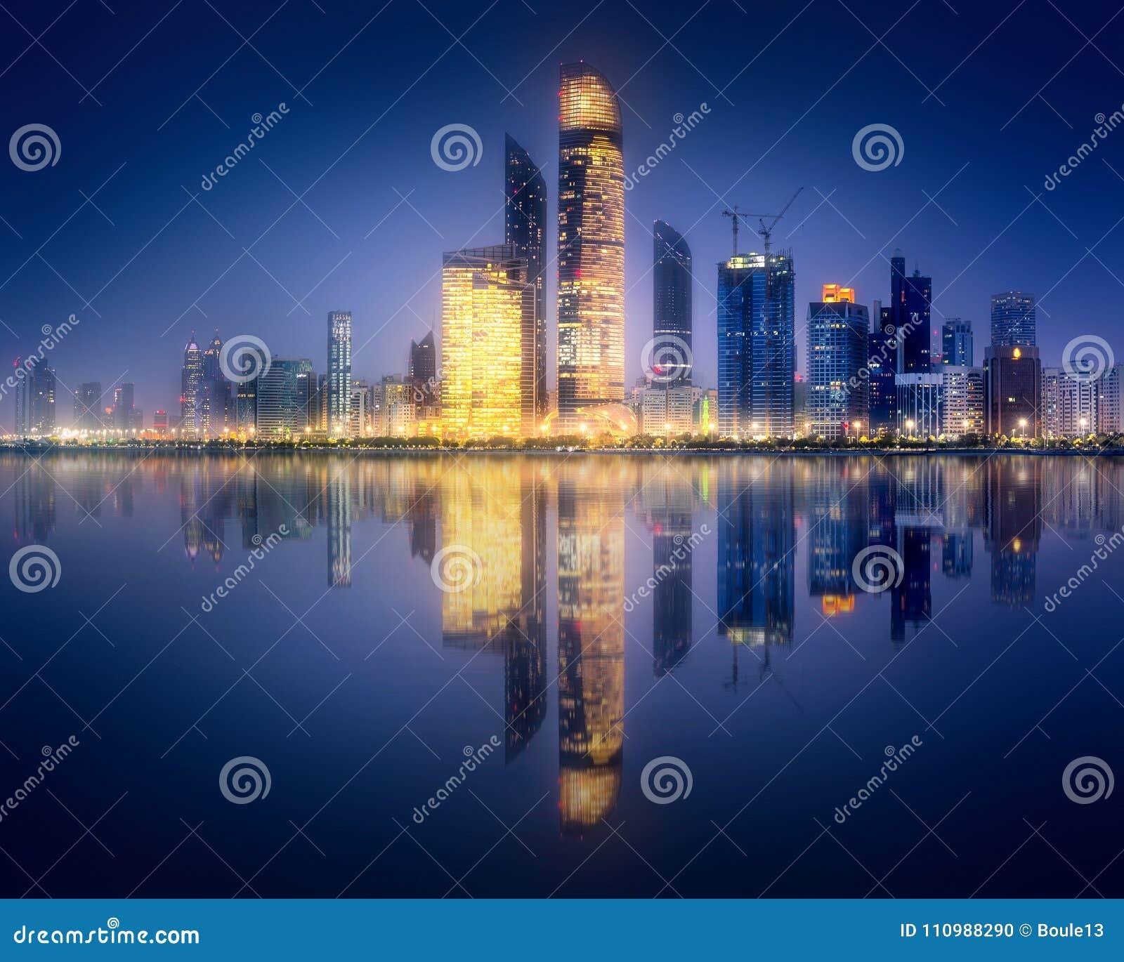 Panorama view of Abu Dhabi Skyline at sunset, UAE