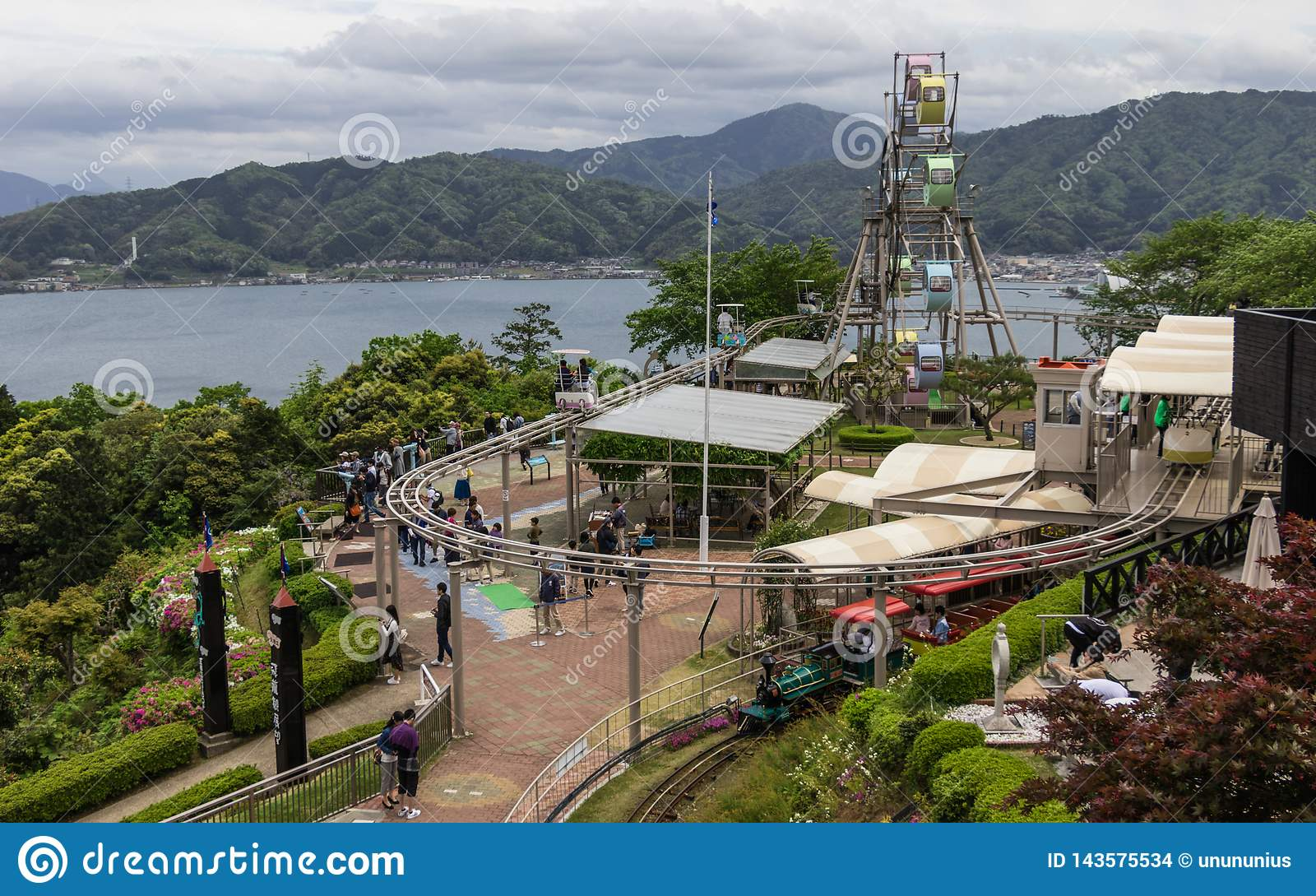 Panorama View on Amanohashidate View Land with Ferris Wheel and activities. Miyazu, Japan, Asia