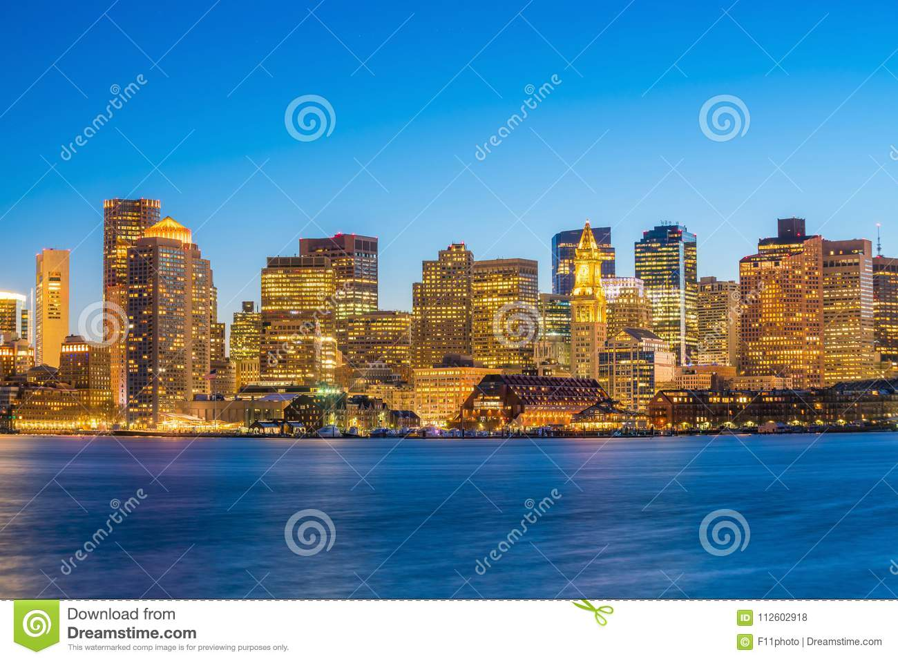 Panorama view of Boston skyline with skyscrapers at twilight in