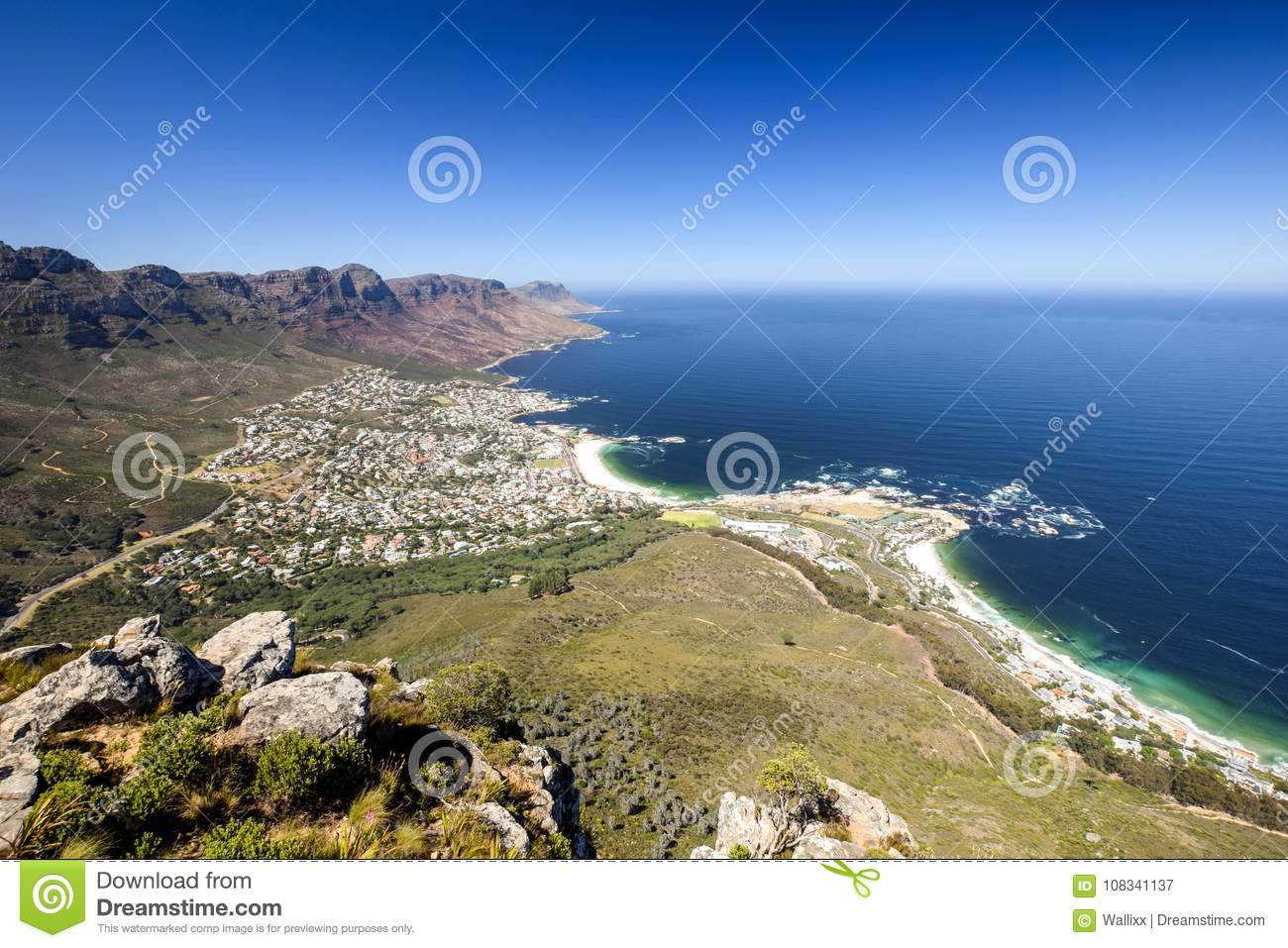 Panoramic View Of Camps Bay An Affluent Suburb Of Cape Town