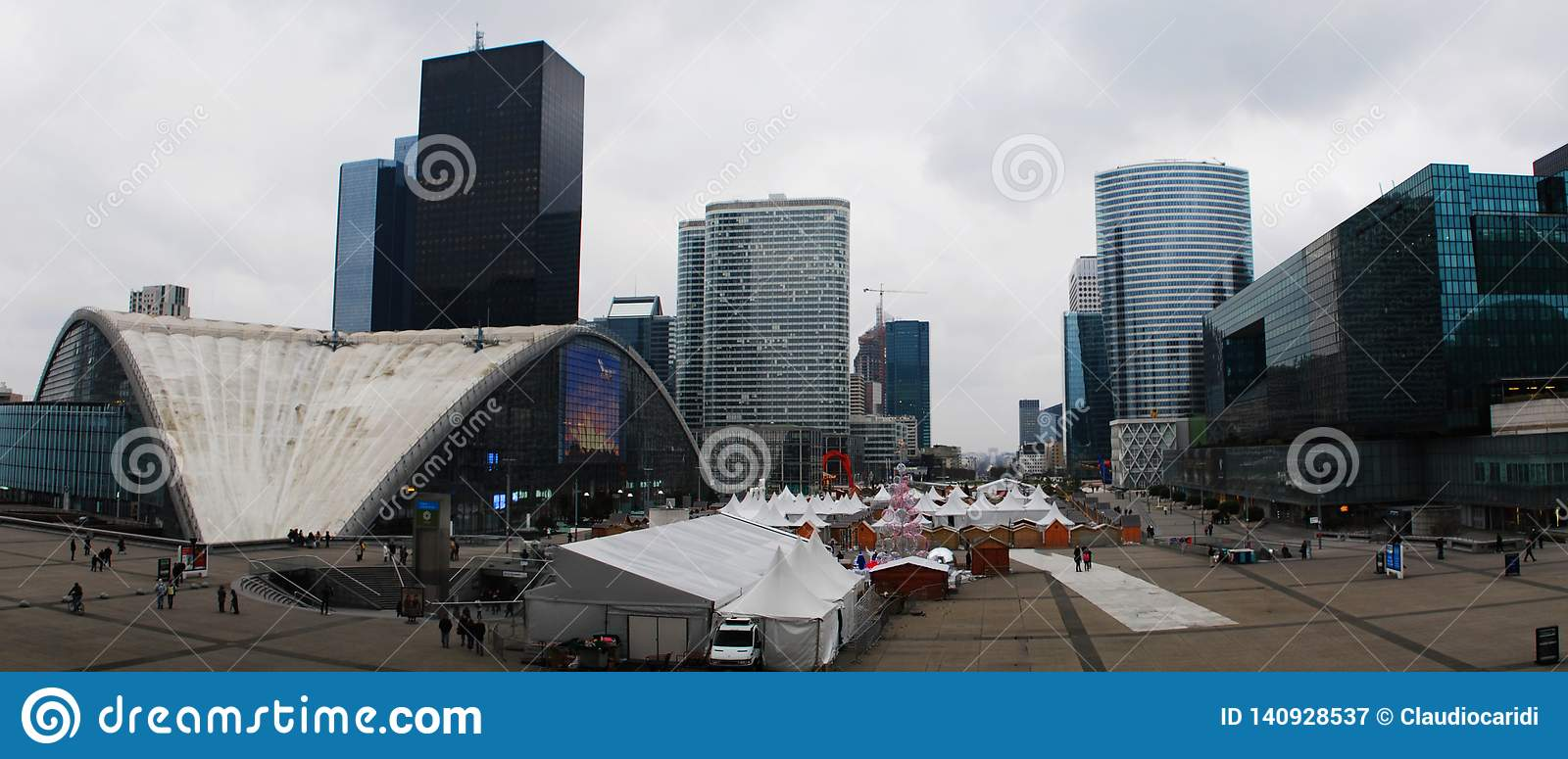 Panorama view of the Defense, business district in Paris, France