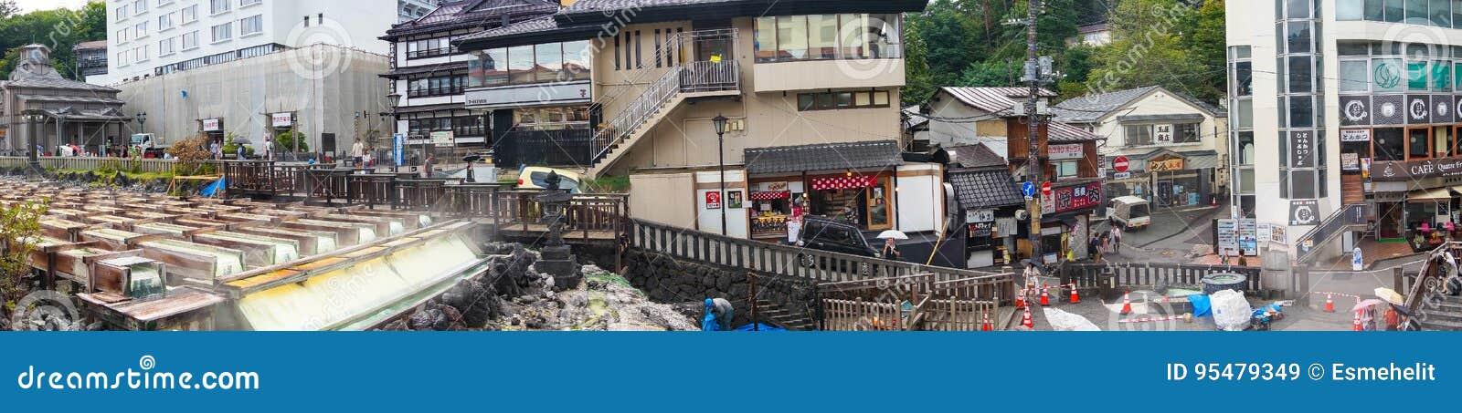 Panorama view of famous Yubatake hot spring, onsen and Kusatsu s