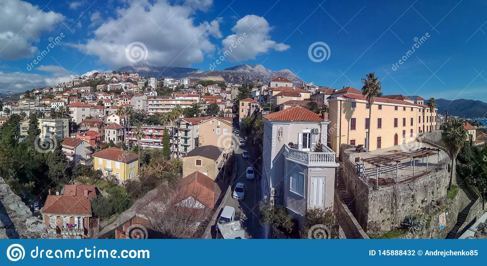 Panorama view on Herceg Novi, an old town in Montenegro
