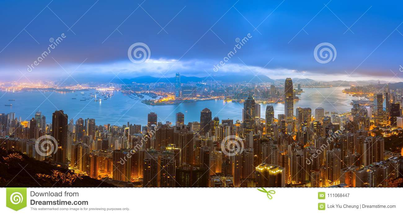 Panorama View Of Hong Kong City From the Sky